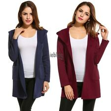 New Women Casual Hooded Long Sleeve Solid Knit Cardigan Sweaters LEBB