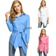 Womens Casual Long Sleeve Slim Belt Button Down Collar Solid Shirt LM03