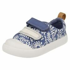 Clarks First Walking Doodles 'Halcy Hati' Girls Denim Canvas Riptape Shoes F Fit