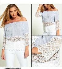 New Womens Blue Pin Stripe Off Shoulder White Lace Top Ladies Bardot Blouse Top