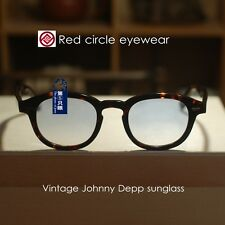 Retro Vintage Johnny Depp sunglasses men tortoise frame light blue gradient lens