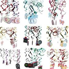 12pcs Foil Hanging Swirls 1st 16th 30th 50th Birthday Anniversary Party Decor