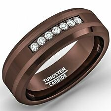 8mm Brown Tungsten Carbide Ring with Brilliant Zircon Mens Wedding Band Comfort