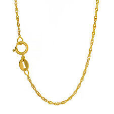 10k Solid Yellow White Or Rose Gold 1.5 mm Singapore Chain Bracelet Necklace