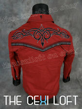 NEW Mens ROAR Shirt Red Western Style Black Stitched Seams and Details Button Up