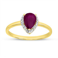 14k Yellow Gold Pear Ruby And Diamond Ring