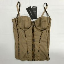 Dolce&Gabbana Corset Leopard Trim Sexy Fitted Camisole Bustier Top NWT