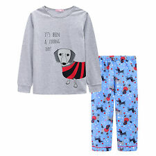Pyjamas Girls Winter Cotton Top Flannel Pants 2pc Pjs (Sz 8-14) Set Grey Blue Sa