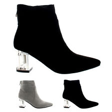 Womens Perspex Block Heel Zipper Fashion Shoes Pointed Toe Ankle Boots UK 3-10