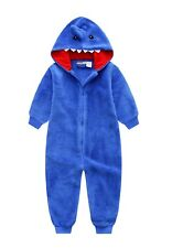 New Pyjamas Boys Winter Fleece Onesie Jumpsuit (Sz 8-14) Blue Shark (794)