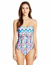 New Kenneth Cole Scuba in Aruba Printed One Piece Bandeau Swimsuit Multi Sz M-L