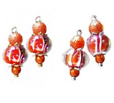 Earrings Orange lampwork, choose gold or silver and clip on  or pierced
