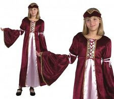 Girls Renaissance Princess Fancy Dress Costume Kids Childs Medieval Tudor Outfit