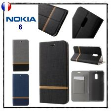 Etui porte-carte coque housse Bi-Color card holder Wallet Cover case NOKIA 6
