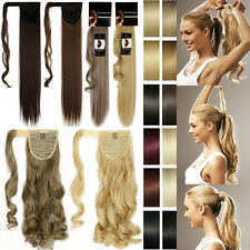 Natural Lady Hair Wrap around Clip in Ponytail Hair Extensions Straight Wavy T92