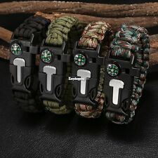 Rope Paracord Survival Bracelet Flint Fire Starter Compass Whistle Outdoor ES9P