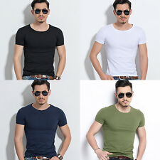 Mens Slim Fit V-neck/ Crew neck T-shirt Short Sleeve Muscle Tee Size M L XL 3XL