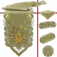Easter Bunnies Eggs Daffodil Embroidery Table runner Tablecloth Pillowcase Green