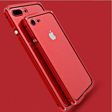 For Apple iPhone 7 6s Case Aluminum Metal Bumper Clear Acrylic Back Cover Shell