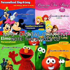 NAME PERSONALIZED CHILDREN MP3 MUSIC - NOT A CD - Princess, Mickey, Veggie Tales