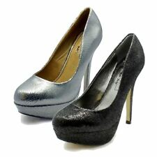 Ladies mottled concealed platform high heel court shoes