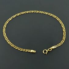 14K YELLOW GOLD 2.6MM TIGER EYE LINK 10 INCH ANKLET