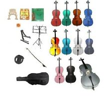 New Student Cello,Bag,Bow+2 Sets Strings+Tuner+2 Stands+2 Bridges+Rosin+Mute