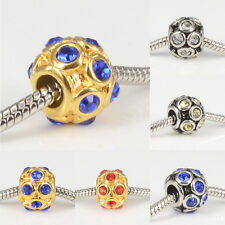 Crystal Ball 316L Stainless Steel Charms Spacer Beads for Women's DIY Bracelets