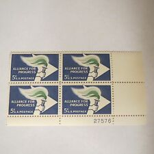 "VTG ""ALLIANCE FOR PROGRESS"" 5 Cent MUH Block 4 ~ 5 Cent US Postage Stamp #1234"