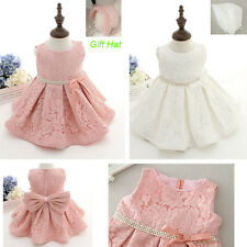 Baby Girl Lace Floral Dress Baptism Christening Wedding Party Suit Fast shipping
