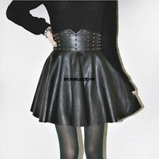 Autumn Winter Women Fashion Punk Style Rivet Synthetic Leather A-Line VGY02