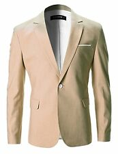 FLATSEVEN Mens Slim Fit Cotton Stylish Casual Blazer Jacket