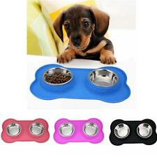 Stainless Steel Dog Bowl No Spill Food and Water Double Bowls for Pet Puppy Cat