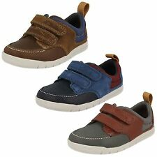BOYS CLARKS LEATHER RIPTAPE STRAP OUTDOOR TRAINERS CASUAL FIRST SHOES CRAZY JAY