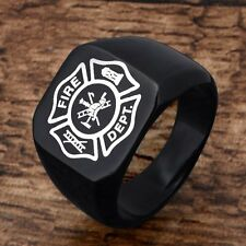 Unisex Gothic Biker Vintage Black Fire Fighter Mens Stainless Steel Ring Jewelry