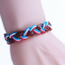 US Mens Leather Braided Woven Hemp Plaited Surfer Wristband Bracelet MK097E