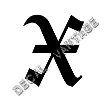 Old English X Letter Initial Vinyl Sticker Decal Font Diploma Choose Size &Color