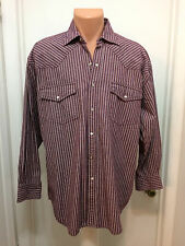 Western Plains  L pearl snaps long sleeve red White Blue striped Cotton Heavy