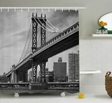 Vintage Shower Curtain Bridge in New York City Print for Bathroom 70 Inches Long