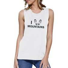 I Heart Mountains Womens White Graphic Tank Top Gift Ideas For Her