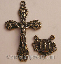 VINTAGE ROSARY PARTS SUPPLIES Lilies Crucifix Center Sterling Bronze 1162-1198
