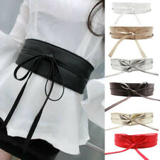 Womens Soft Faux Leather Self Tie Wrap Around Obi Waist Band Cinch Belt