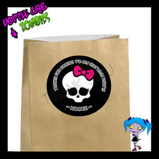 Monster High Skull Birthday Party Favor Goody Bag STICKERS - Personalized