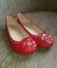 Next red leather ballerina shoes WORN ONCE  size 5.5 / 38.5 Free P and P