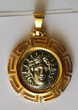 GOD APOLLO GREEK COIN BIG SIZE pendant sterling silver 925 GOLD PLAT code 131
