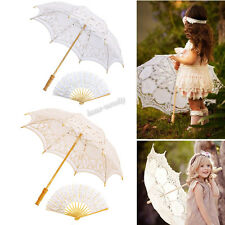 Woman Wedding Cotton Lace Parasol Umbrella Hand Folding Fan Set Photo Decoration