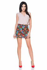 A-line sexy summer mini skirt, printed red and blue flowers + Size 8-16