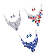 Prom Wedding Party Bridal Jewelry Diamante Crystal Choker Necklace Drop Earrings