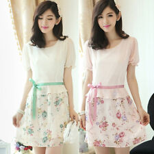 Chic Crew Neck Short Sleeve Floral Women's Chiffon Mini Dress Tunic Waistband