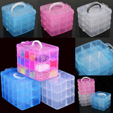 3Layers 18 Compartments Clear Storage Box Jewelry Bead Organizer Case Delightful